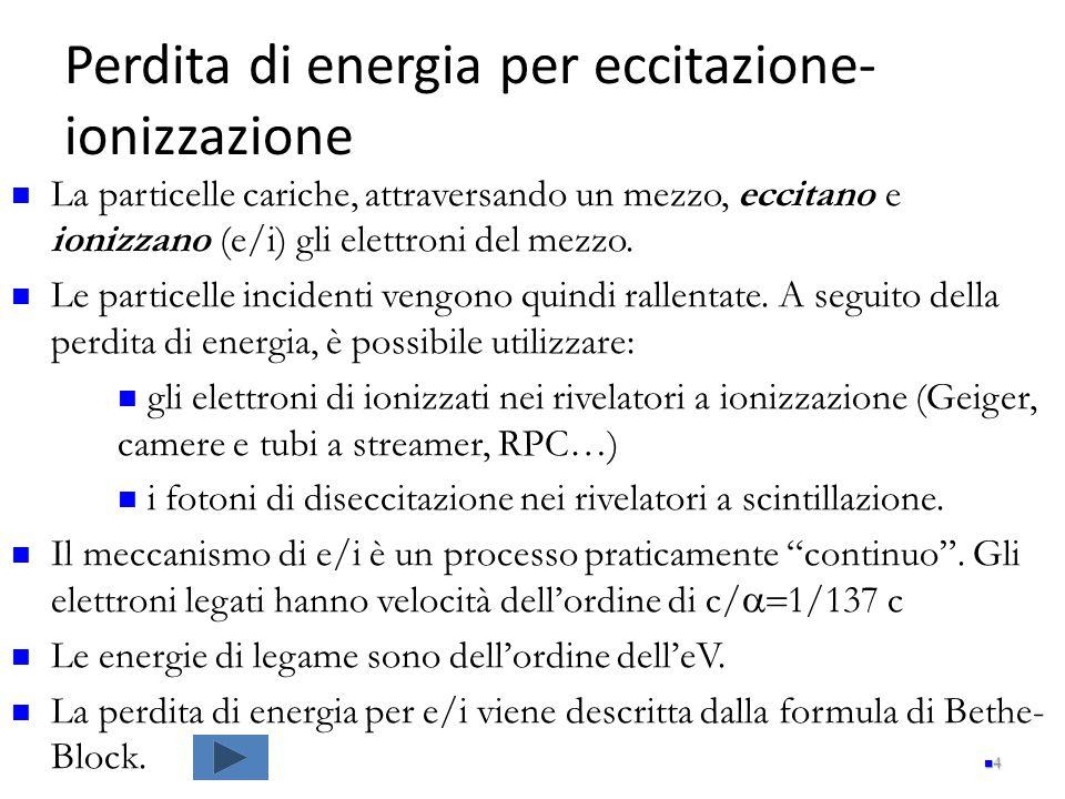Perdita di energia per eccitazione- ionizzazione 4 La particelle cariche, attraversando un mezzo, eccitano e ionizzano (e/i) gli elettroni del mezzo.