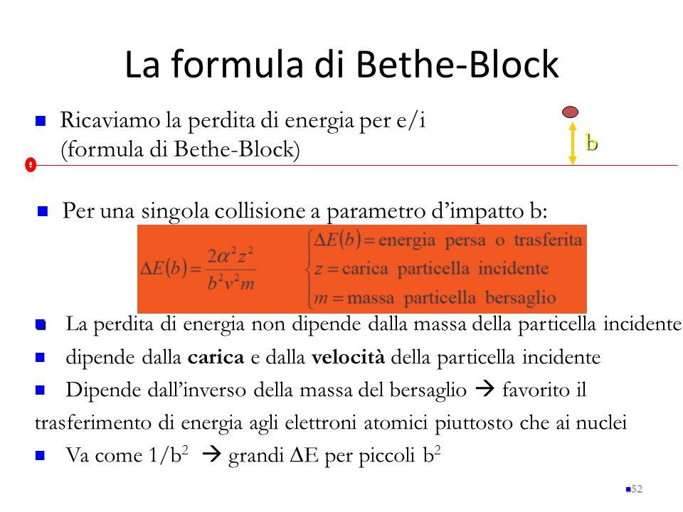 La formula di Bethe-Block 52 Ricaviamo la perdita di energia per e/i (formula di Bethe-Block) b Per una singola collisione a parametro d'impatto b: La