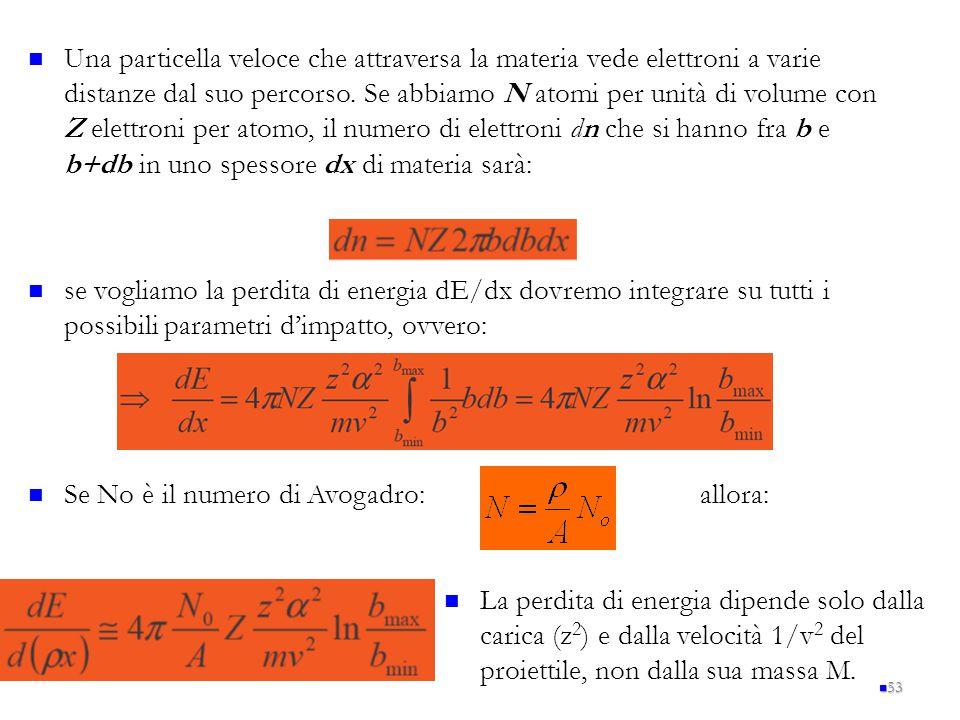 53 Una particella veloce che attraversa la materia vede elettroni a varie distanze dal suo percorso. Se abbiamo N atomi per unità di volume con Z elet