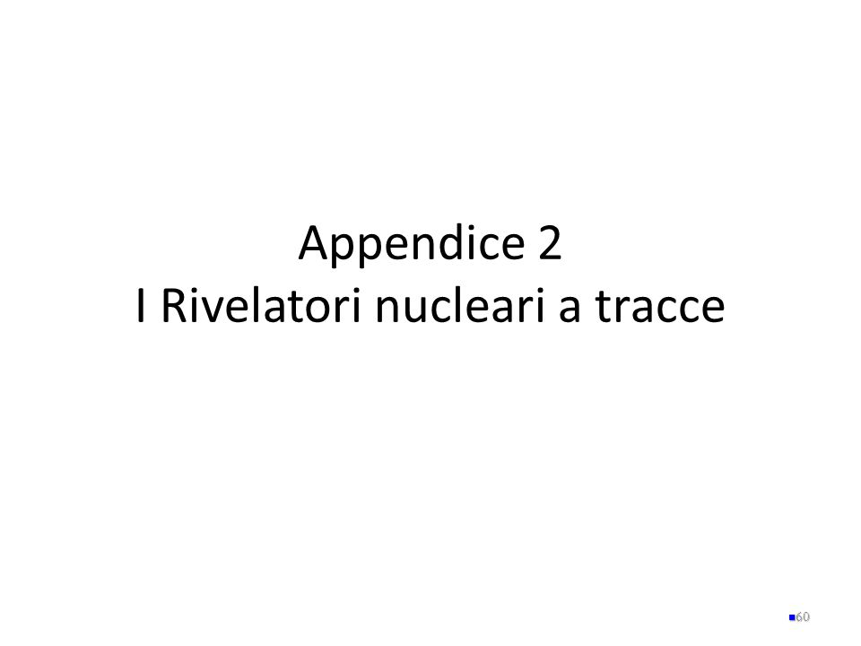 Appendice 2 I Rivelatori nucleari a tracce 60