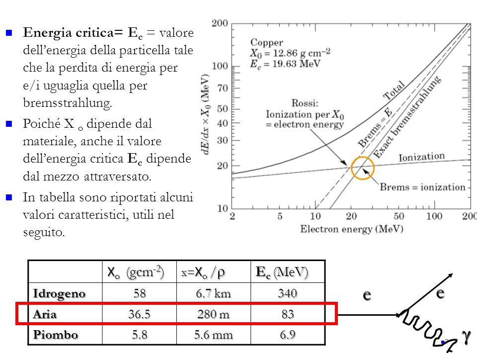 7 Energia critica= E c = valore dell'energia della particella tale che la perdita di energia per e/i uguaglia quella per bremsstrahlung. Poiché  X o