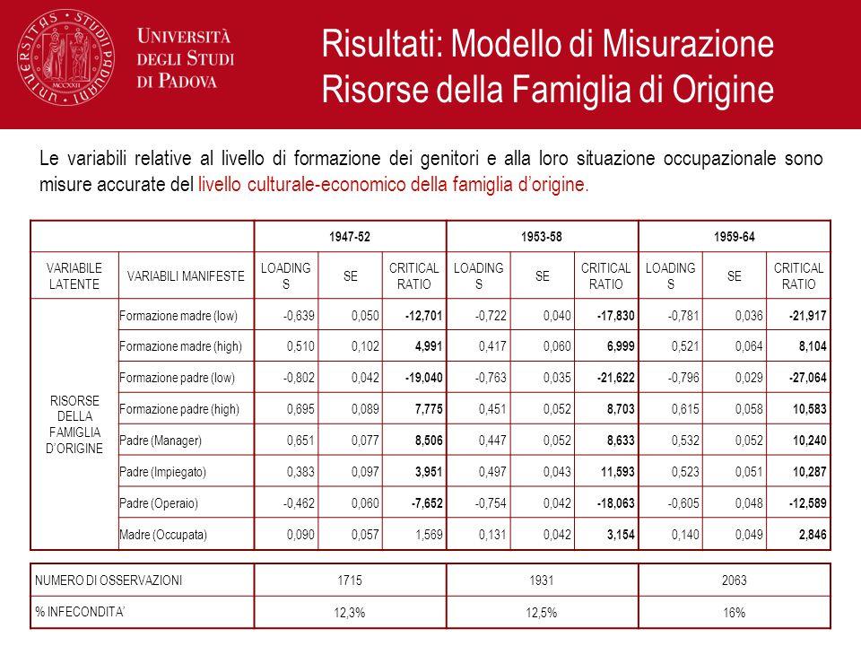Risultati: Modello di Misurazione Risorse della Famiglia di Origine Le variabili relative al livello di formazione dei genitori e alla loro situazione