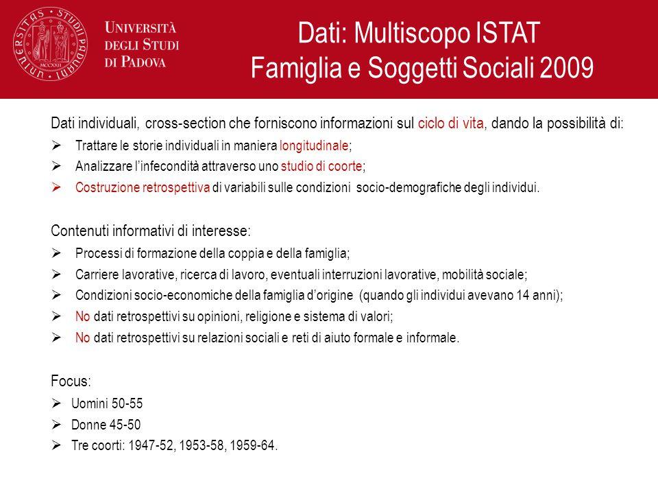 Dati: Multiscopo ISTAT Famiglia e Soggetti Sociali 2009 Dati individuali, cross-section che forniscono informazioni sul ciclo di vita, dando la possib