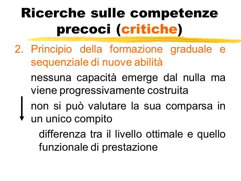 Ricerche sulle competenze precoci (critiche) 2.Principio della formazione graduale e sequenziale di nuove abilità nessuna capacità emerge dal nulla ma