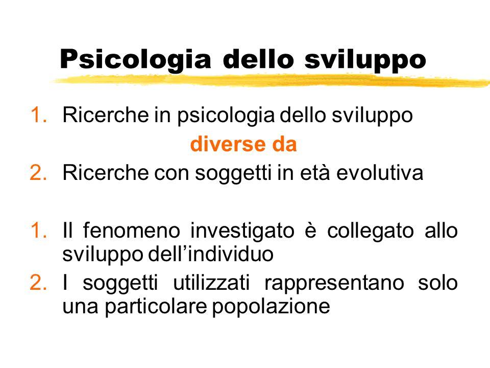 Psicologia dello sviluppo 1.Ricerche in psicologia dello sviluppo diverse da 2.Ricerche con soggetti in età evolutiva 1.Il fenomeno investigato è coll