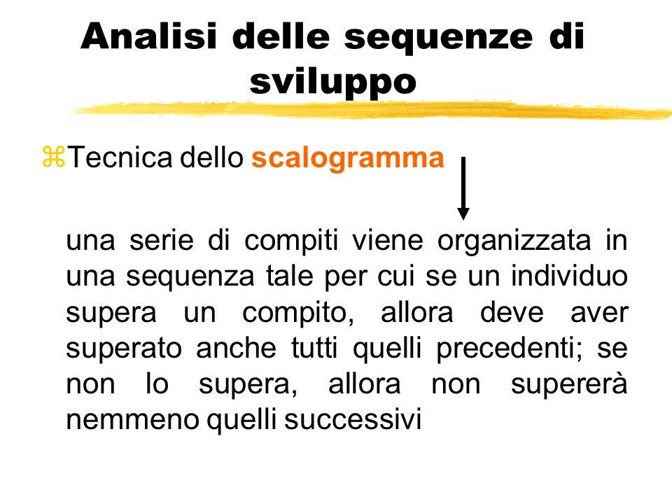 Analisi delle sequenze di sviluppo zTecnica dello scalogramma una serie di compiti viene organizzata in una sequenza tale per cui se un individuo supe
