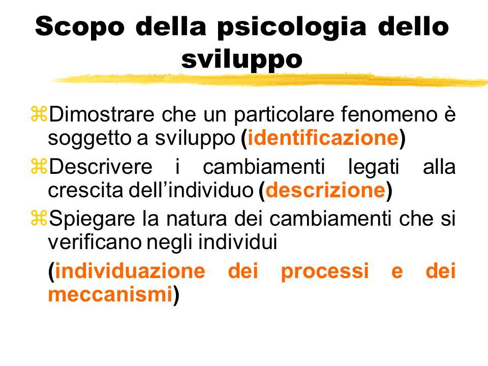 Scopo della psicologia dello sviluppo zDimostrare che un particolare fenomeno è soggetto a sviluppo (identificazione) zDescrivere i cambiamenti legati alla crescita dell'individuo (descrizione) zSpiegare la natura dei cambiamenti che si verificano negli individui (individuazione dei processi e dei meccanismi)