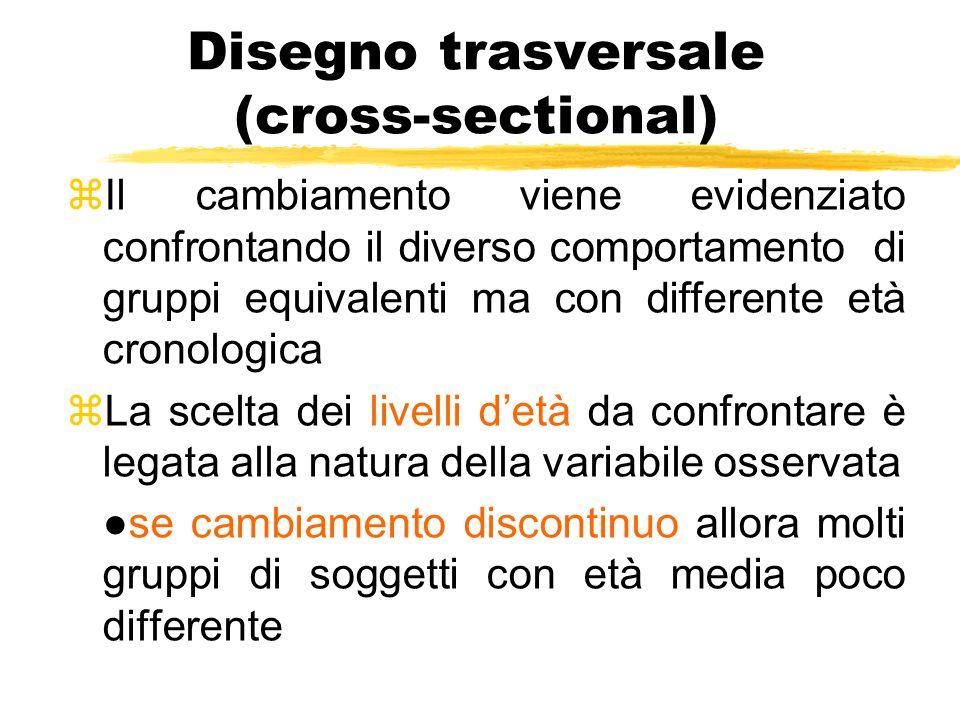 Disegno trasversale (cross-sectional) zIl cambiamento viene evidenziato confrontando il diverso comportamento di gruppi equivalenti ma con differente