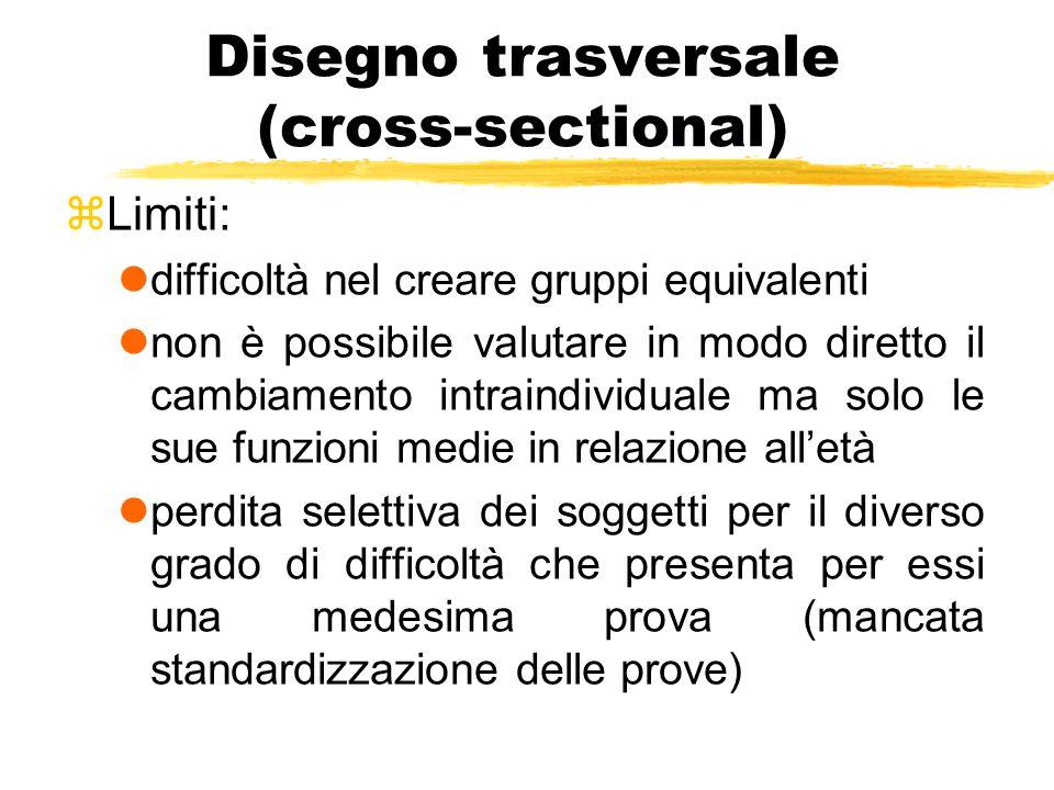 Disegno trasversale (cross-sectional) zLimiti: ldifficoltà nel creare gruppi equivalenti lnon è possibile valutare in modo diretto il cambiamento intr