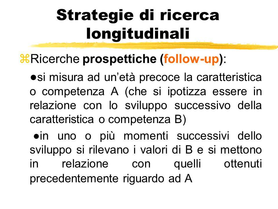 Strategie di ricerca longitudinali zRicerche prospettiche (follow-up): ● si misura ad un'età precoce la caratteristica o competenza A (che si ipotizza