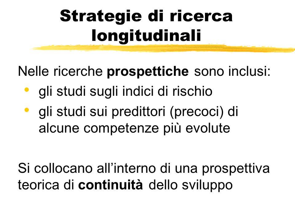 Strategie di ricerca longitudinali Nelle ricerche prospettiche sono inclusi: gli studi sugli indici di rischio gli studi sui predittori (precoci) di a