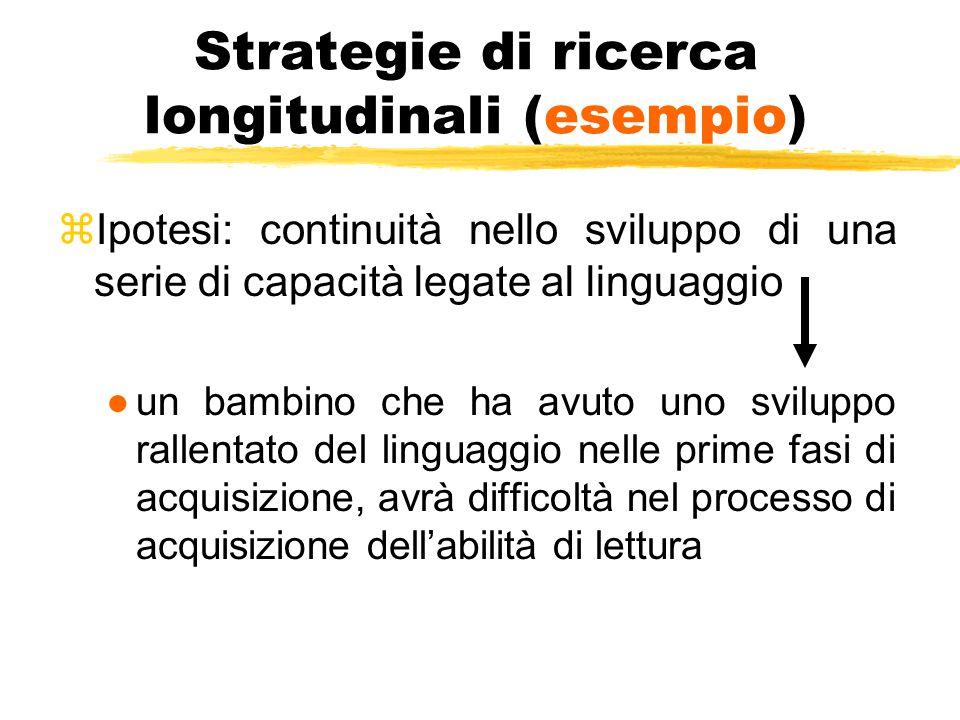 Strategie di ricerca longitudinali (esempio) zIpotesi: continuità nello sviluppo di una serie di capacità legate al linguaggio ●un bambino che ha avut