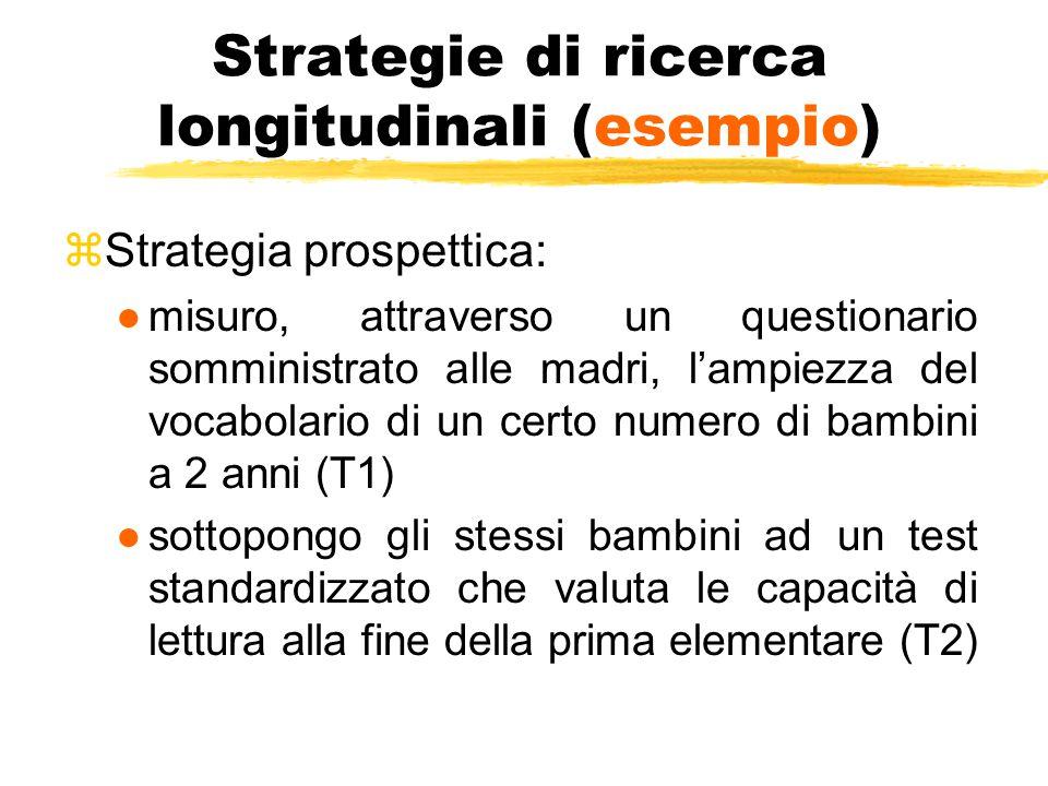 Strategie di ricerca longitudinali (esempio) zStrategia prospettica: ●misuro, attraverso un questionario somministrato alle madri, l'ampiezza del voca