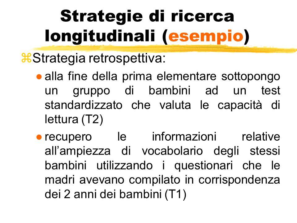 Strategie di ricerca longitudinali (esempio) zStrategia retrospettiva: ●alla fine della prima elementare sottopongo un gruppo di bambini ad un test st