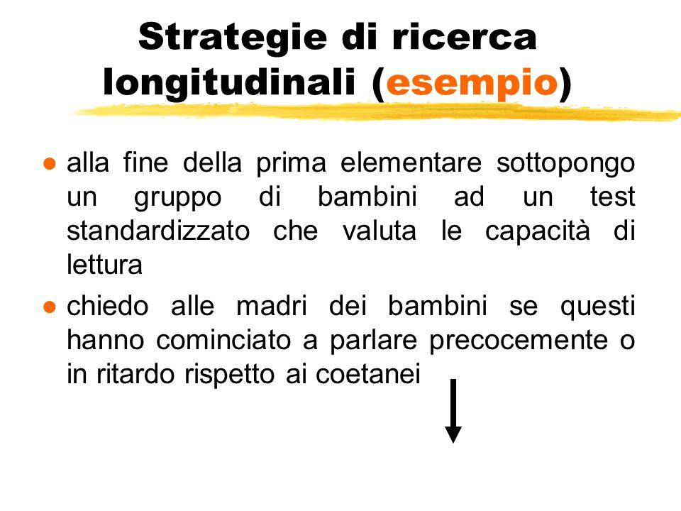 Strategie di ricerca longitudinali (esempio) ●alla fine della prima elementare sottopongo un gruppo di bambini ad un test standardizzato che valuta le
