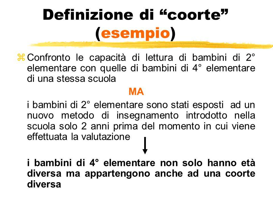 """Definizione di """"coorte"""" (esempio) zConfronto le capacità di lettura di bambini di 2° elementare con quelle di bambini di 4° elementare di una stessa s"""