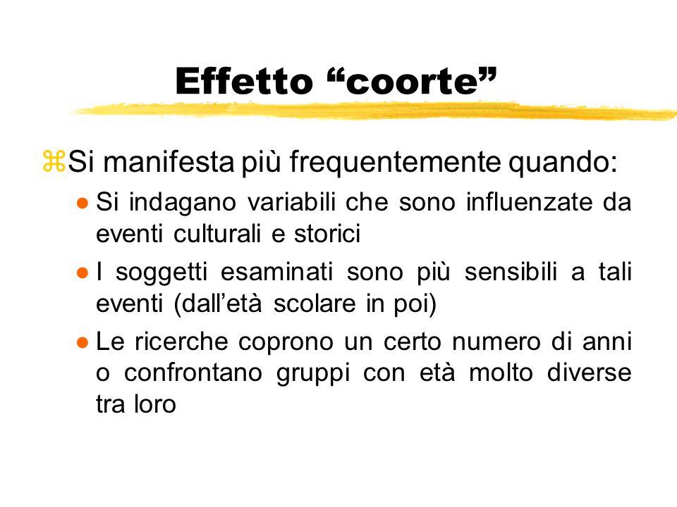 """Effetto """"coorte"""" zSi manifesta più frequentemente quando: ●Si indagano variabili che sono influenzate da eventi culturali e storici ●I soggetti esamin"""