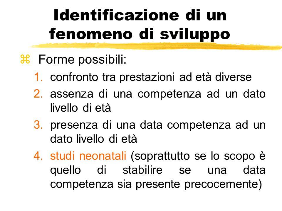 Identificazione di un fenomeno di sviluppo zForme possibili: 1.confronto tra prestazioni ad età diverse 2.assenza di una competenza ad un dato livello