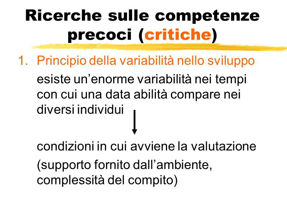 Ricerche sulle competenze precoci (critiche) 1.Principio della variabilità nello sviluppo esiste un'enorme variabilità nei tempi con cui una data abilità compare nei diversi individui condizioni in cui avviene la valutazione (supporto fornito dall'ambiente, complessità del compito)