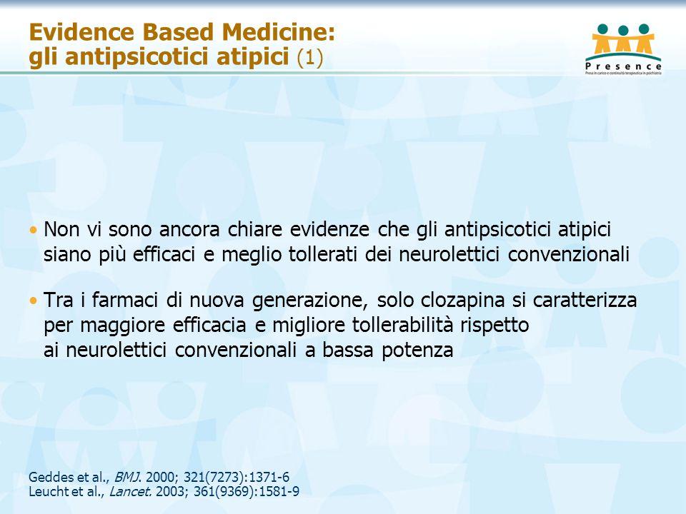 Geddes et al., BMJ. 2000; 321(7273):1371-6 Leucht et al., Lancet. 2003; 361(9369):1581-9 Evidence Based Medicine: gli antipsicotici atipici (1) Non vi