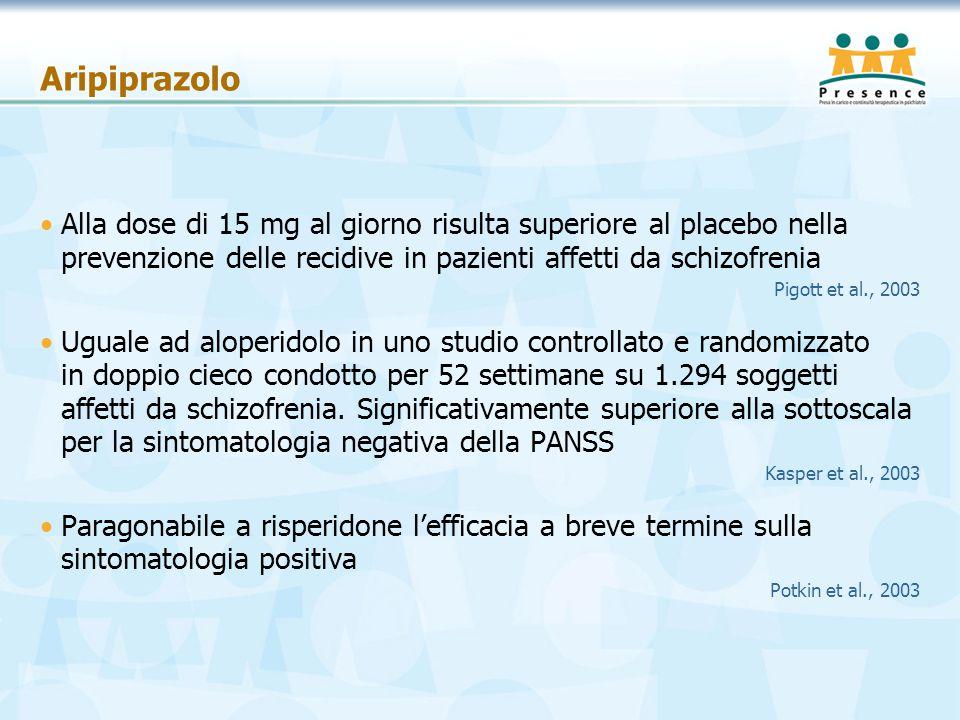 Aripiprazolo Alla dose di 15 mg al giorno risulta superiore al placebo nella prevenzione delle recidive in pazienti affetti da schizofrenia Pigott et