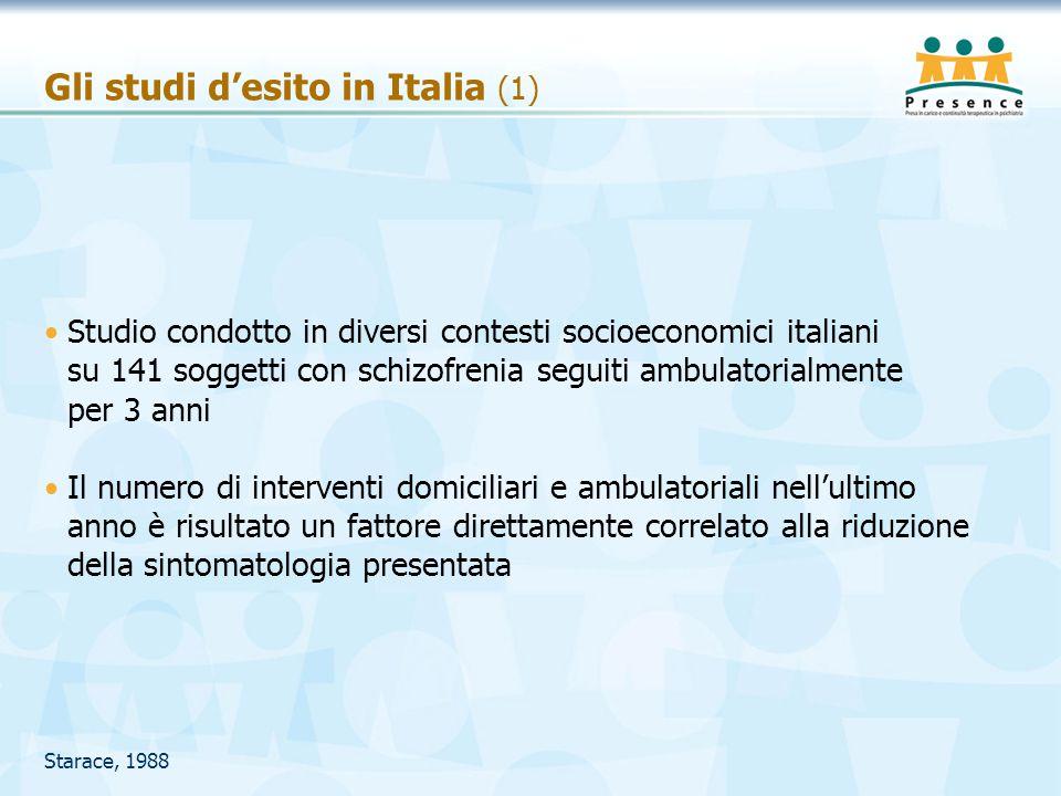Gli studi d'esito in Italia (1) Studio condotto in diversi contesti socioeconomici italiani su 141 soggetti con schizofrenia seguiti ambulatorialmente
