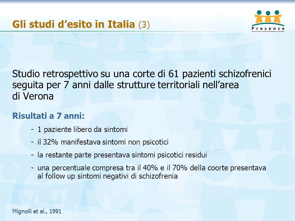 Gli studi d'esito in Italia (3) Studio retrospettivo su una corte di 61 pazienti schizofrenici seguita per 7 anni dalle strutture territoriali nell'ar