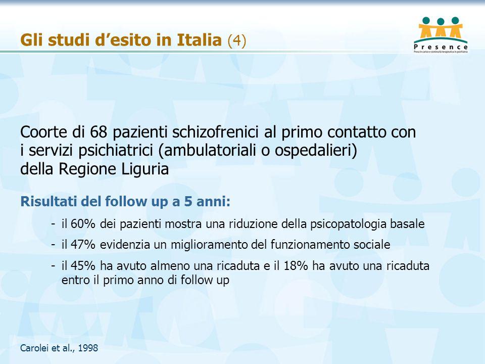 Gli studi d'esito in Italia (4) Coorte di 68 pazienti schizofrenici al primo contatto con i servizi psichiatrici (ambulatoriali o ospedalieri) della R