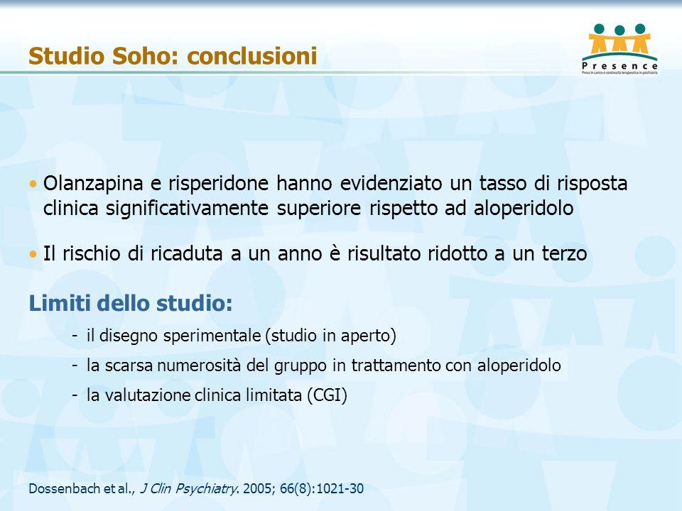 Studio Soho: conclusioni Olanzapina e risperidone hanno evidenziato un tasso di risposta clinica significativamente superiore rispetto ad aloperidolo