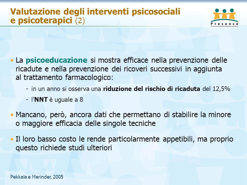 Pekkala e Merinder, 2005 Valutazione degli interventi psicosociali e psicoterapici (2) La psicoeducazione si mostra efficace nella prevenzione delle r