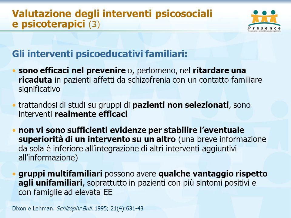 Valutazione degli interventi psicosociali e psicoterapici (3) Gli interventi psicoeducativi familiari: sono efficaci nel prevenire o, perlomeno, nel r