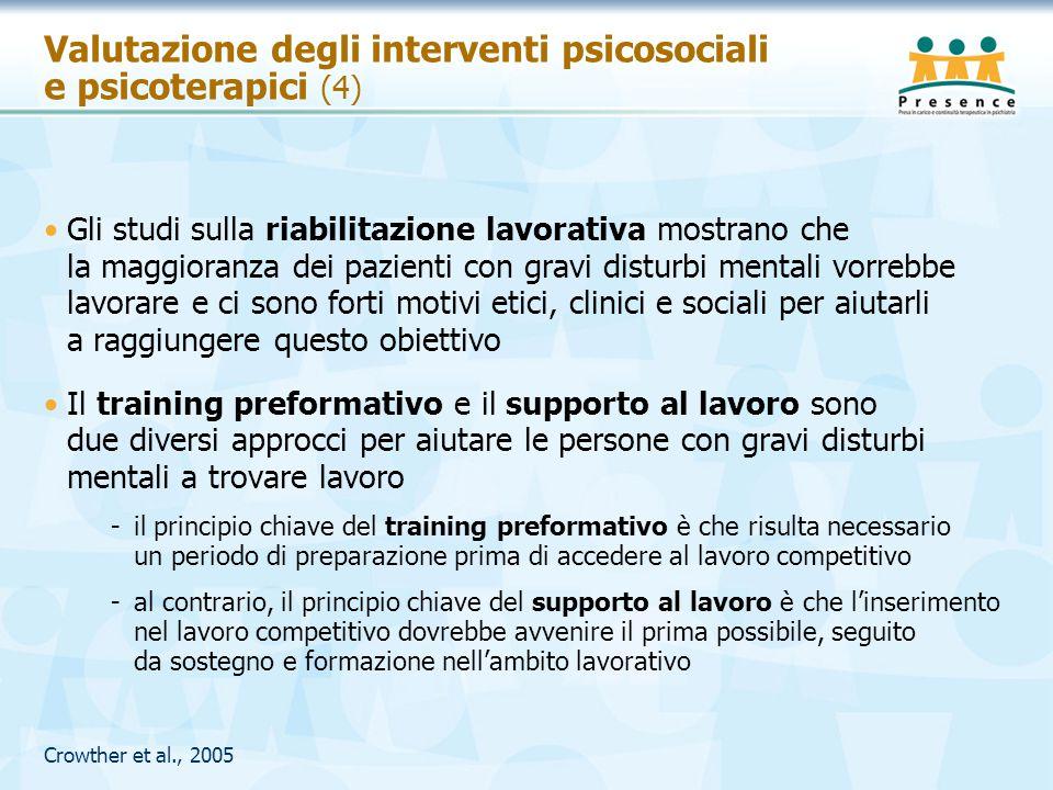 Crowther et al., 2005 Valutazione degli interventi psicosociali e psicoterapici (4) Gli studi sulla riabilitazione lavorativa mostrano che la maggiora