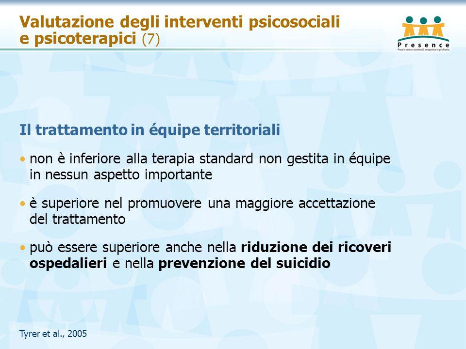 Valutazione degli interventi psicosociali e psicoterapici (7) Il trattamento in équipe territoriali non è inferiore alla terapia standard non gestita