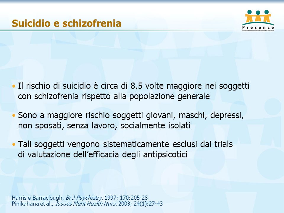 Harris e Barraclough, Br J Psychiatry. 1997; 170:205-28 Pinikahana et al., Issues Ment Health Nurs. 2003; 24(1):27-43 Suicidio e schizofrenia Il risch