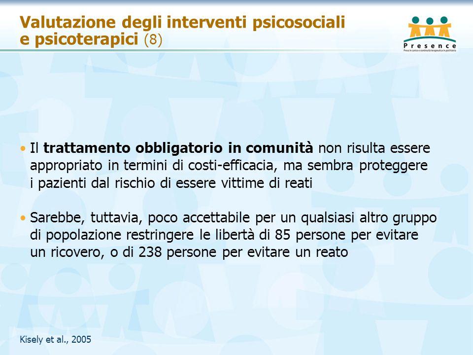Valutazione degli interventi psicosociali e psicoterapici (8) Il trattamento obbligatorio in comunità non risulta essere appropriato in termini di cos