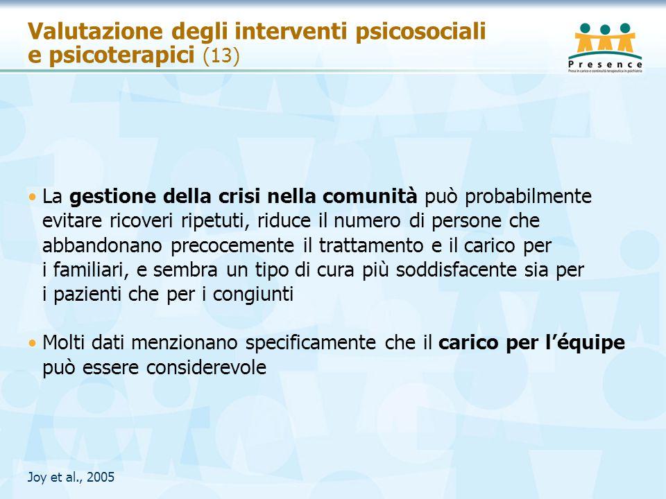 Valutazione degli interventi psicosociali e psicoterapici (13) La gestione della crisi nella comunità può probabilmente evitare ricoveri ripetuti, rid