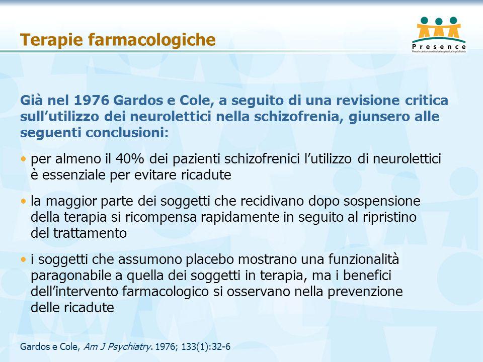 Gardos e Cole, Am J Psychiatry. 1976; 133(1):32-6 Terapie farmacologiche Già nel 1976 Gardos e Cole, a seguito di una revisione critica sull'utilizzo