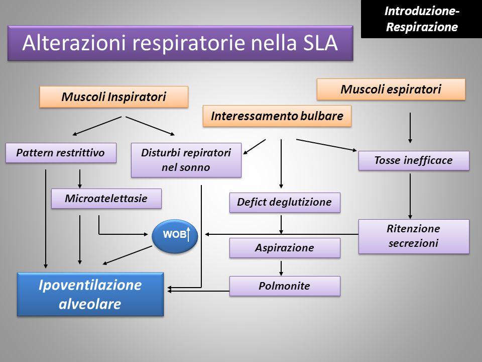 WOB Muscoli Inspiratori Interessamento bulbare Muscoli espiratori Pattern restrittivo Disturbi repiratori nel sonno Microatelettasie Defict deglutizio