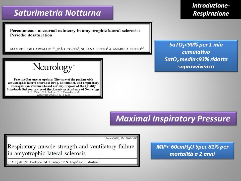 Saturimetria Notturna SaTO 2 <90% per 1 min cumulativo SatO 2 media<93% ridotta sopravvivenza SaTO 2 <90% per 1 min cumulativo SatO 2 media<93% ridott