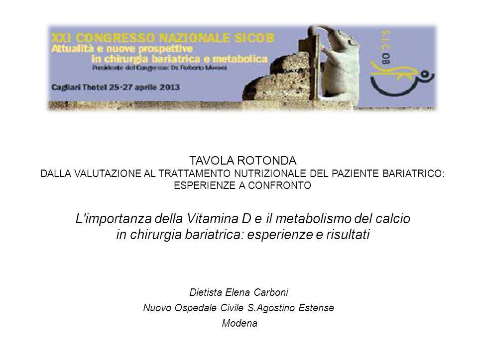 TAVOLA ROTONDA DALLA VALUTAZIONE AL TRATTAMENTO NUTRIZIONALE DEL PAZIENTE BARIATRICO: ESPERIENZE A CONFRONTO L'importanza della Vitamina D e il metabo