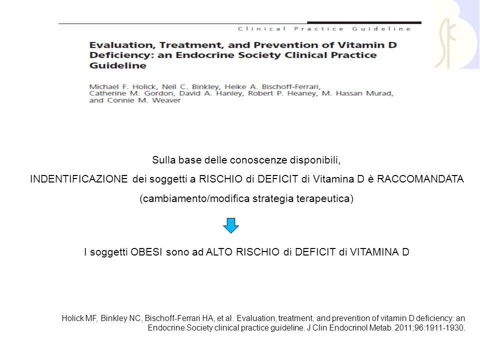 Sulla base delle conoscenze disponibili, INDENTIFICAZIONE dei soggetti a RISCHIO di DEFICIT di Vitamina D è RACCOMANDATA (cambiamento/modifica strateg