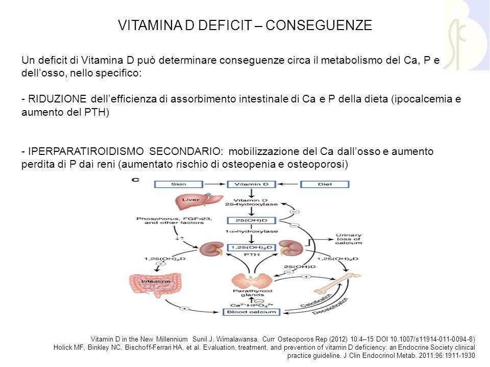 Un deficit di Vitamina D può determinare conseguenze circa il metabolismo del Ca, P e dell'osso, nello specifico: - RIDUZIONE dell'efficienza di assor