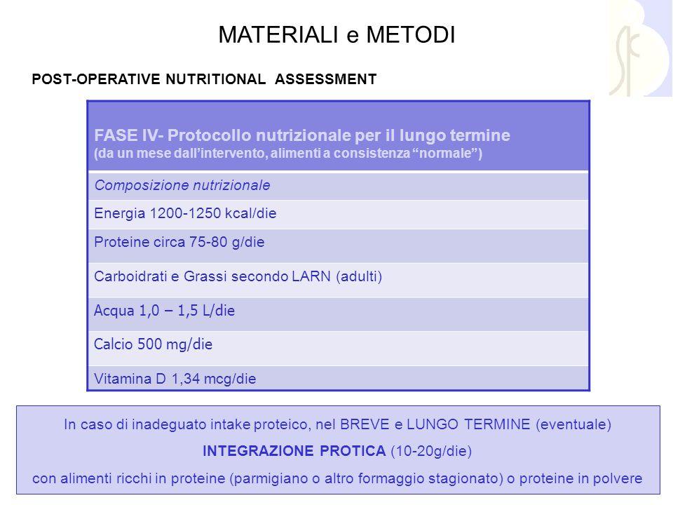 In caso di inadeguato intake proteico, nel BREVE e LUNGO TERMINE (eventuale) INTEGRAZIONE PROTICA (10-20g/die) con alimenti ricchi in proteine (parmig