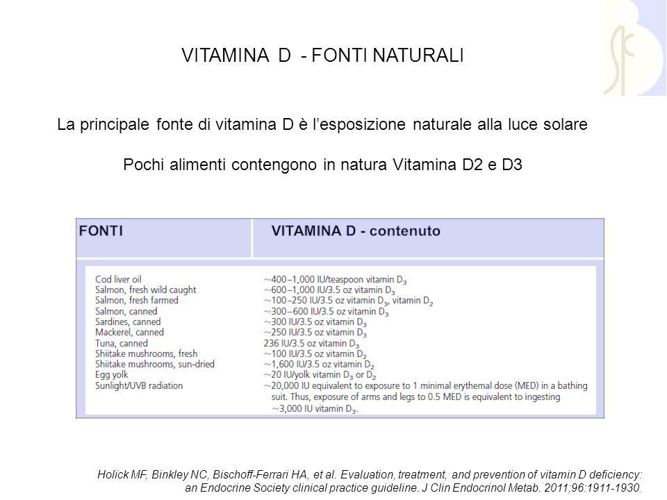 VITAMINA D - FONTI NATURALI La principale fonte di vitamina D è l'esposizione naturale alla luce solare Pochi alimenti contengono in natura Vitamina D