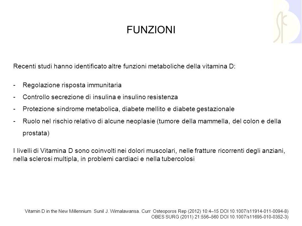 FUNZIONI Recenti studi hanno identificato altre funzioni metaboliche della vitamina D: -Regolazione risposta immunitaria -Controllo secrezione di insu