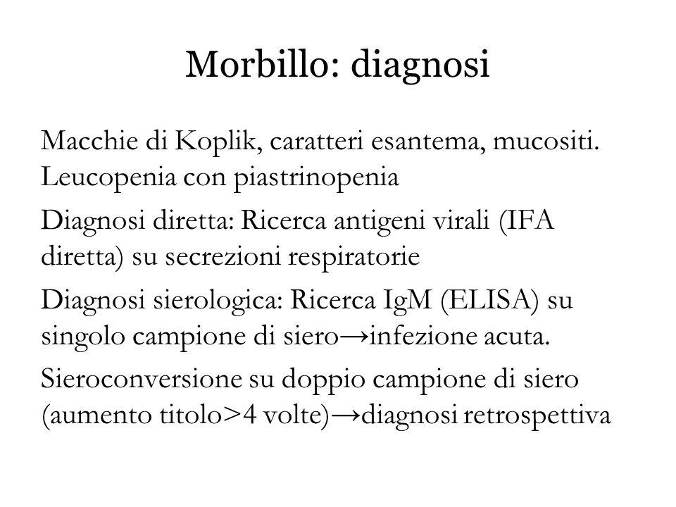 Morbillo: diagnosi Macchie di Koplik, caratteri esantema, mucositi. Leucopenia con piastrinopenia Diagnosi diretta: Ricerca antigeni virali (IFA diret