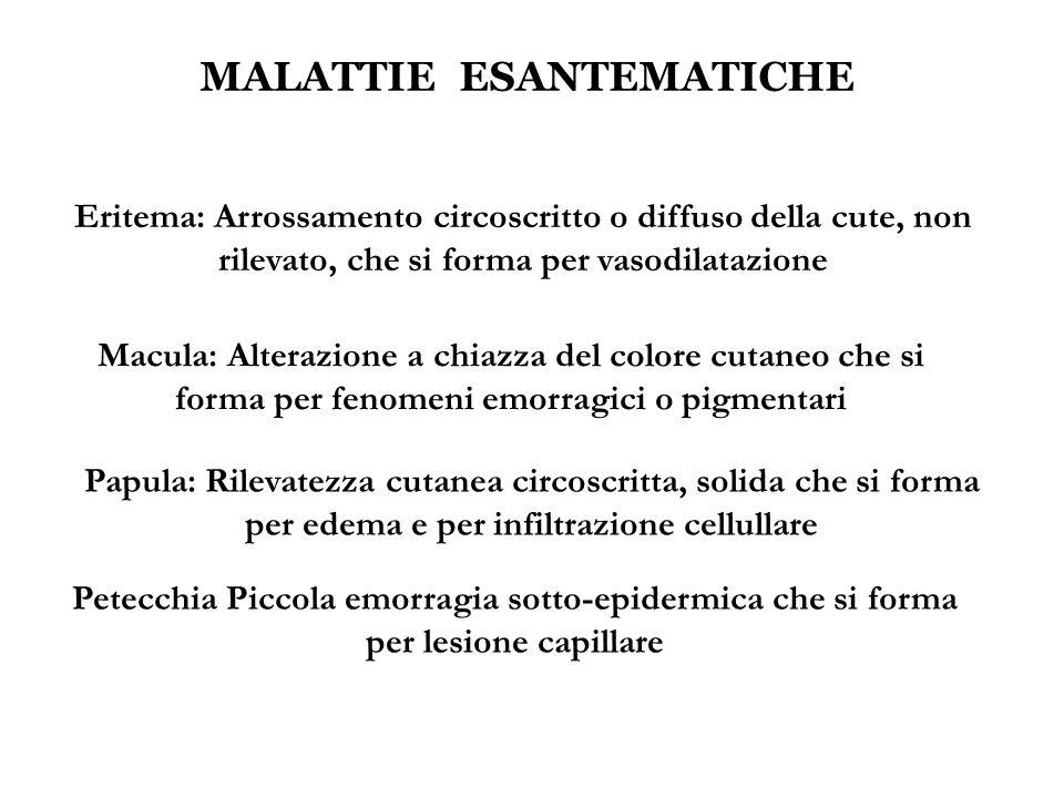 MALATTIE ESANTEMATICHE Eritema: Arrossamento circoscritto o diffuso della cute, non rilevato, che si forma per vasodilatazione Macula: Alterazione a c
