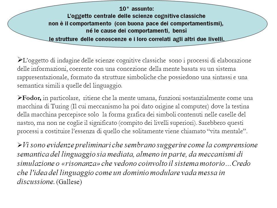 10° assunto: L'oggetto centrale delle scienze cognitive classiche non è il comportamento (con buona pace dei comportamentismi), né le cause dei compor