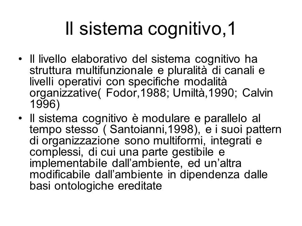 Il sistema cognitivo,1 Il livello elaborativo del sistema cognitivo ha struttura multifunzionale e pluralità di canali e livelli operativi con specifi