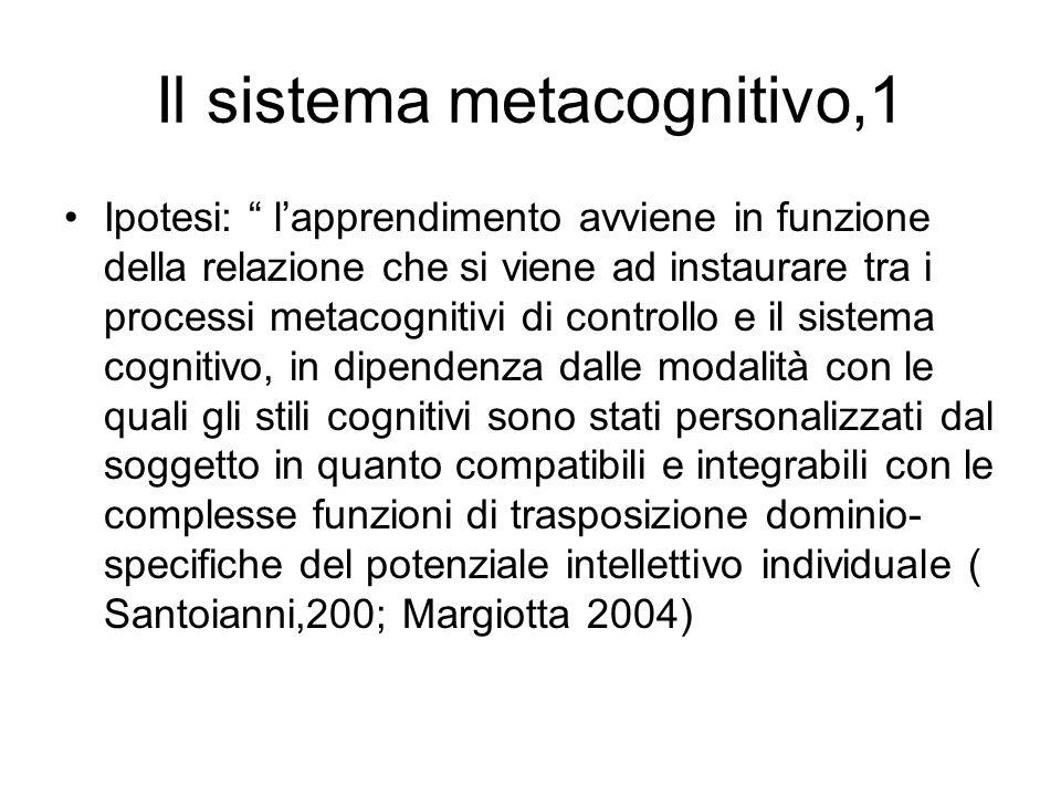 """Il sistema metacognitivo,1 Ipotesi: """" l'apprendimento avviene in funzione della relazione che si viene ad instaurare tra i processi metacognitivi di c"""